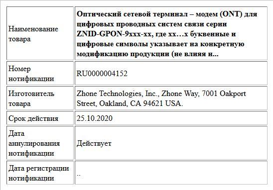 Оптический сетевой терминал – модем (ONT) для  цифровых проводных систем связи серии ZNID-GPON-9xxx-xx,  где xx…x буквенные и цифровые символы указывает на конкретную модификацию продукции (не влияя н...