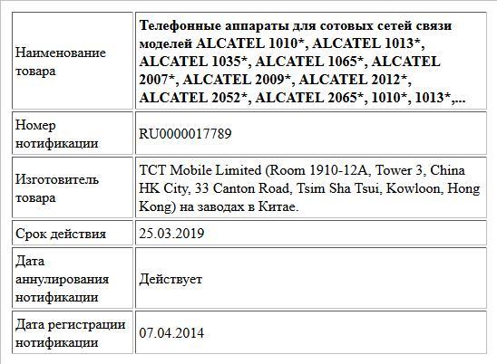 Телефонные аппараты для сотовых сетей связи моделей ALCATEL 1010*, ALCATEL 1013*, ALCATEL 1035*, ALCATEL 1065*, ALCATEL 2007*, ALCATEL 2009*, ALCATEL 2012*, ALCATEL 2052*, ALCATEL 2065*, 1010*, 1013*,...