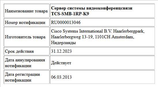 Сервер системы видеоконференцсвязи TCS-SMB-1RP-K9