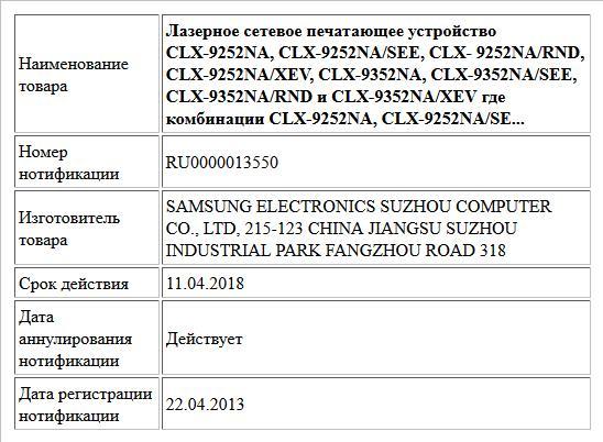 Лазерное сетевое печатающее устройство CLX-9252NA, CLX-9252NA/SEE, CLX- 9252NA/RND, CLX-9252NA/XEV, CLX-9352NA, CLX-9352NA/SEE, CLX-9352NA/RND и CLX-9352NA/XEV где комбинации CLX-9252NA, CLX-9252NA/SE...