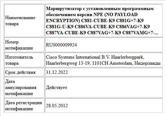 Маршрутизатор с установленным программным обеспечением версии NPE (NO PAYLOAD ENCRYPTION) C881-CUBE-K9 C881G+7-K9 C881G-U-K9 C886VA-CUBE-K9 C886VAG+7-K9 C887VA-CUBE-K9 C887VAG+7-K9 C887VAMG+7-...