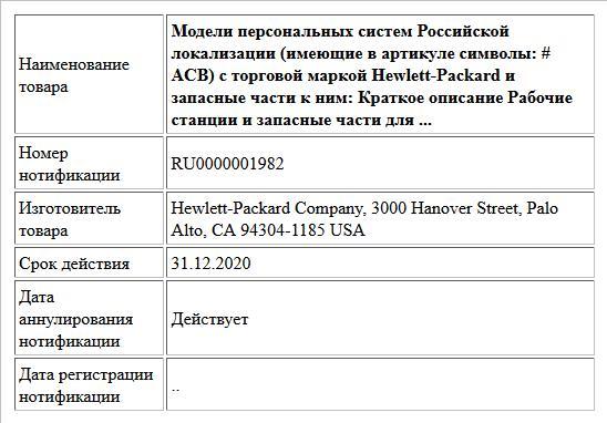 Модели персональных систем Российской локализации (имеющие в артикуле символы: # ACB) с торговой маркой Hewlett-Packard и запасные части к ним: Краткое описание Рабочие станции и запасные части для ...