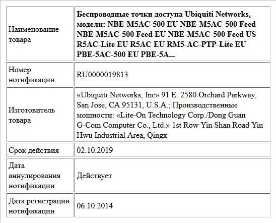 Беспроводные точки доступа Ubiquiti Networks, модели: NBE-M5AC-500 EU NBE-M5AC-500 Feed NBE-M5AC-500 Feed EU NBE-M5AC-500 Feed US R5AC-Lite EU R5AC EU RM5-AC-PTP-Lite EU PBE-5AC-500 EU PBE-5A...