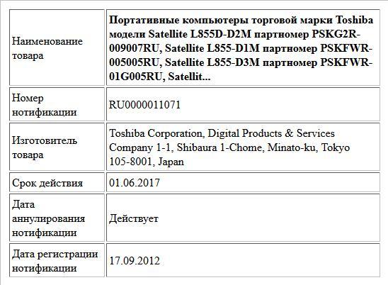 Портативные компьютеры торговой марки Toshiba модели Satellite L855D-D2M партномер PSKG2R-009007RU, Satellite L855-D1M партномер PSKFWR-005005RU, Satellite L855-D3M партномер PSKFWR-01G005RU, Satellit...