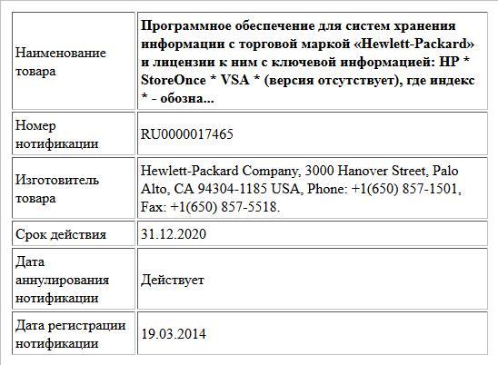 Программное обеспечение для систем хранения информации с торговой маркой «Hewlett-Packard» и лицензии к ним с ключевой информацией: HP * StoreOnce * VSA * (версия отсутствует), где индекс * - обозна...