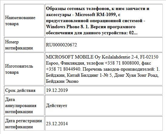 Образцы сотовых телефонов, к ним запчасти и аксессуары  - Microsoft RM-1099, с предустановленной операционной системой - Windows Phone 8. 1. Версия програмного обеспечения для данного устройства: 02...