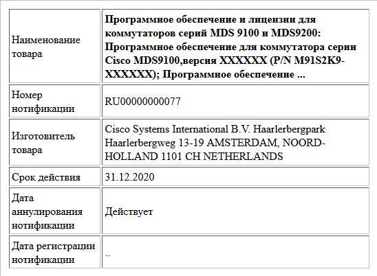 Программное обеспечение и лицензии для коммутаторов серий MDS 9100 и MDS9200: Программное обеспечение для коммутатора серии Cisco MDS9100,версия XXXXXX (P/N M91S2K9-XXXXXX); Программное обеспечение ...