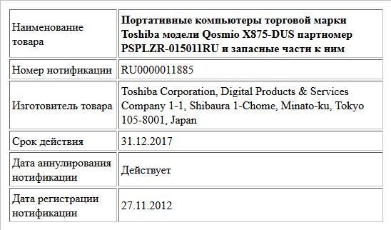 Портативные компьютеры торговой марки Toshiba модели Qosmio X875-DUS партномер PSPLZR-015011RU и запасные части к ним