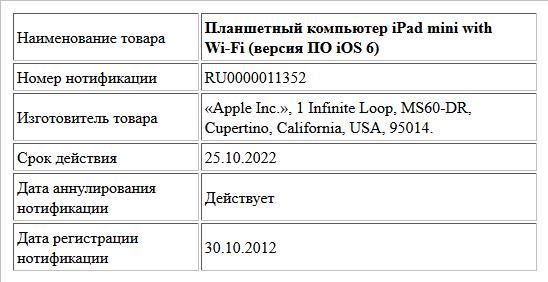 Планшетный компьютер iPad mini with Wi-Fi (версия ПО iOS 6)