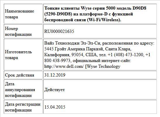 Тонкие клиенты Wyse серии 5000 модель D90D8 (5290-D90D8) на платформе-D с функцией беспроводной связи (Wi-Fi/Wireless).