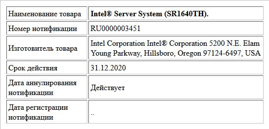 Intel® Server System (SR1640TH).