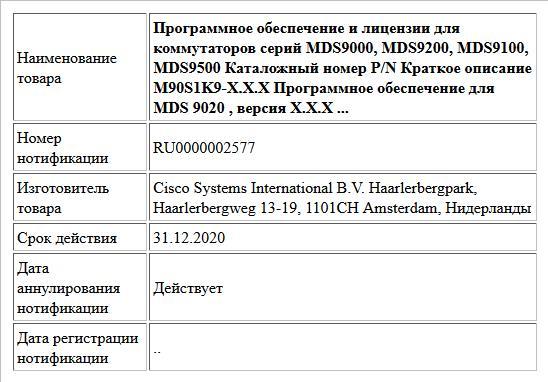 Программное обеспечение и лицензии для коммутаторов серий MDS9000, MDS9200, MDS9100, MDS9500 Каталожный номер P/N Краткое описание M90S1K9-X.X.X Программное обеспечение для MDS 9020 , версия X.X.X ...