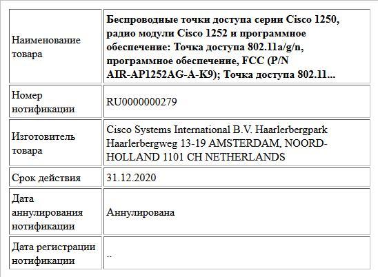 Беспроводные точки доступа серии Cisco 1250, радио модули Cisco 1252  и программное обеспечение: Точка доступа 802.11a/g/n, программное обеспечение, FCC (P/N AIR-AP1252AG-A-K9); Точка доступа 802.11...
