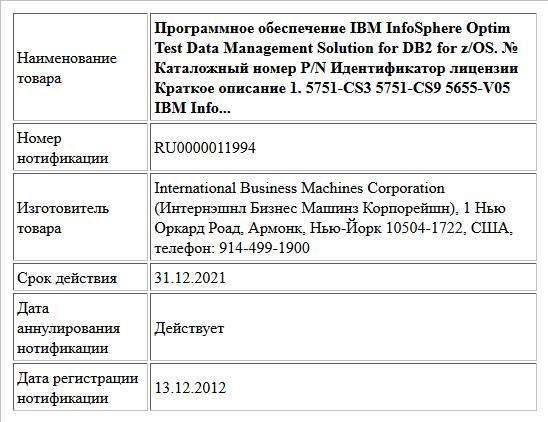 Программное обеспечение IBM InfoSphere Optim Test Data Management Solution for DB2 for z/OS. № Каталожный номер P/N Идентификатор лицензии Краткое описание 1. 5751-CS3    5751-CS9 5655-V05 IBM Info...