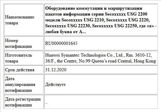Оборудование коммутации и маршрутизации пакетов информации серии Secoххххх USG 2200 модели Secoххххх USG 2210, Secoххххх USG 2220, Secoххххх USG 22230, Secoххххх USG 22250,  где «х» - любая буква от A...
