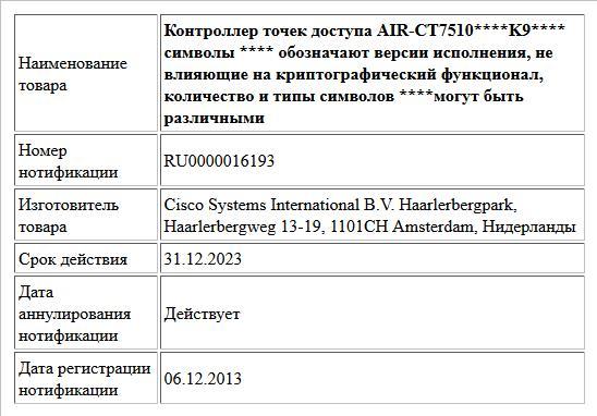 Контроллер точек доступа  AIR-CT7510****K9**** символы **** обозначают версии исполнения, не влияющие на криптографический функционал, количество и типы символов ****могут быть различными