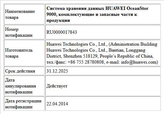Система хранения данных HUAWEI OceanStor 9000, комплектующие и запасные части к продукции