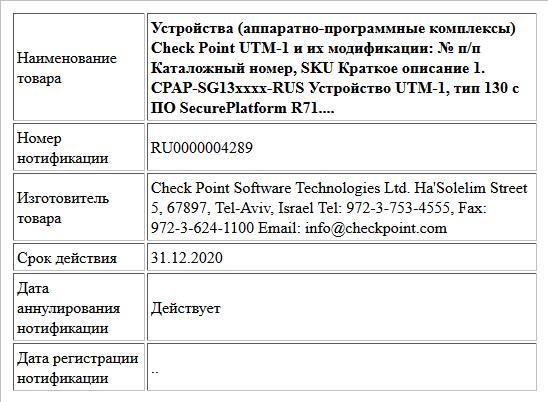Устройства (аппаратно-программные комплексы) Check Point UTM-1 и их модификации:  № п/п Каталожный номер, SKU Краткое описание 1. CPAP-SG13xxxx-RUS Устройство UTM-1, тип 130 с ПО SecurePlatform R71....