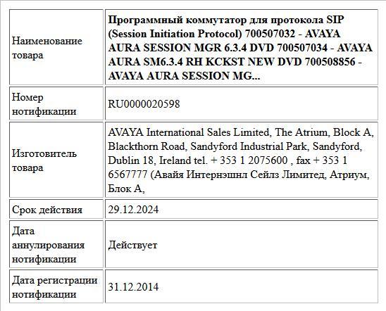 Программный коммутатор для протокола SIP (Session Initiation Protocol) 700507032 - AVAYA AURA SESSION MGR 6.3.4 DVD 700507034 - AVAYA AURA SM6.3.4 RH KCKST NEW DVD 700508856 - AVAYA AURA SESSION MG...
