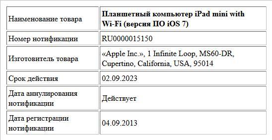 Планшетный компьютер iPad mini with Wi-Fi (версия ПО iOS 7)