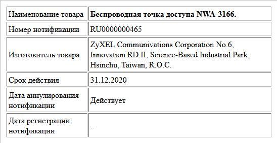 Беспроводная точка доступа NWA-3166.