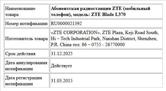 Абонентская радиостанция ZTE (мобильный телефон), модель: ZTE Blade L370