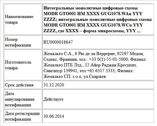 Интегральные монолитные цифровые схемы  MODR GTO001 HM XXXX GUG1078.WAu YYY ZZZZ; интегральные монолитные цифровые схемы  MODR GTO001 HM XXXX GUG1078.WCu YYY ZZZZ, где XXXX – форма микросхемы, YYY ...