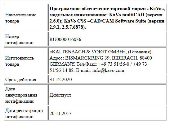 Программное обеспечение торговой марки «KaVo», модельное наименование: KaVo multiCAD (версия 2.6.0); KaVo CSS –CAD/CAM Software Suite (версия 2.9.1, 2.5.7.6878).