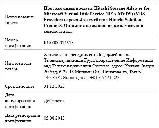 Программный продукт Hitachi Storage Adapter for Microsoft Virtual Disk Service (HSA MVDS) (VDS Provider) версия 4.x семейства Hitachi Solution Products. Описание названия, версии, модели и семейства п...