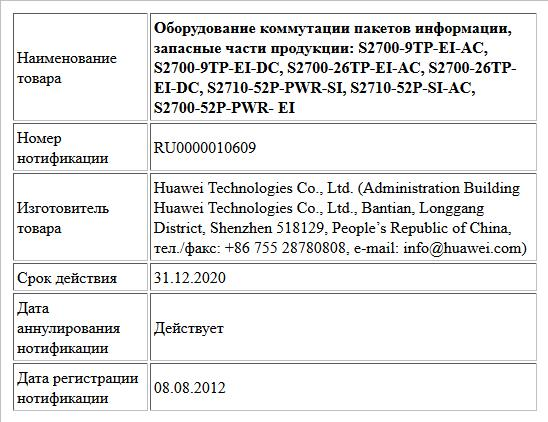 Оборудование коммутации пакетов информации, запасные части продукции:  S2700-9TP-EI-AC, S2700-9TP-EI-DC, S2700-26TP-EI-AC, S2700-26TP-EI-DC, S2710-52P-PWR-SI, S2710-52P-SI-AC, S2700-52P-PWR- EI