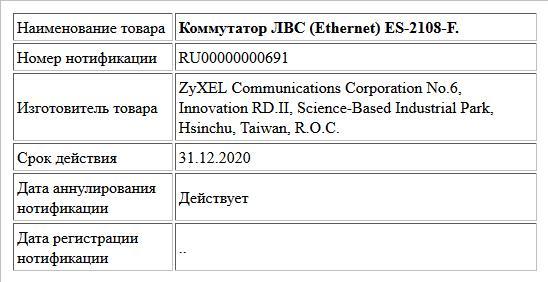 Коммутатор ЛВС (Ethernet) ES-2108-F.