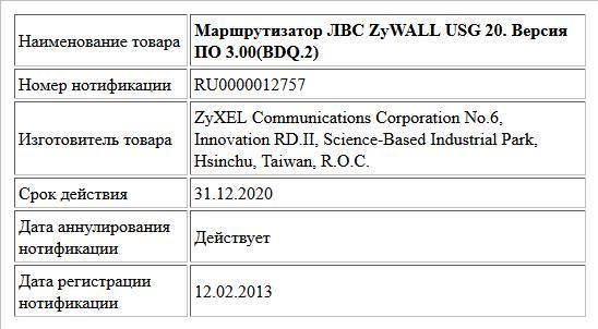 Маршрутизатор ЛВС ZyWALL USG 20. Версия ПО 3.00(BDQ.2)
