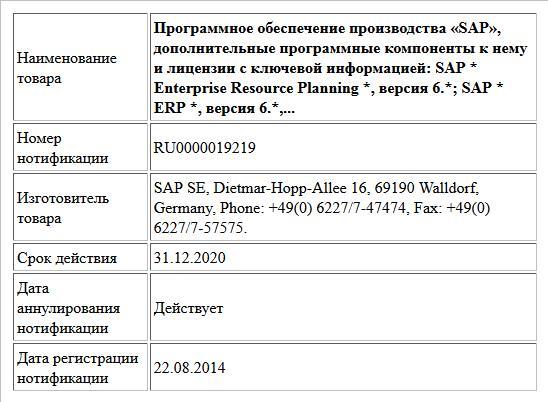 Программное обеспечение производства «SAP», дополнительные программные компоненты к нему и лицензии с ключевой информацией: SAP * Enterprise Resource Planning *, версия 6.*; SAP * ERP *, версия 6.*,...