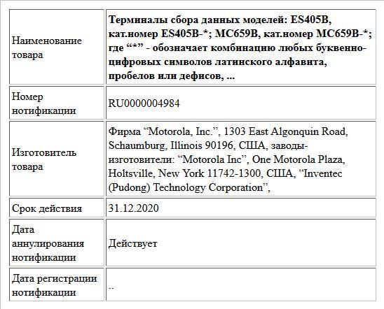 """Терминалы сбора данных моделей: ES405B, кат.номер ES405B-*; MC659B, кат.номер MC659B-*; где """"*"""" -  обозначает комбинацию любых буквенно-цифровых символов латинского алфавита, пробелов или дефисов, ..."""