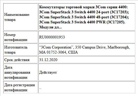 Коммутаторы торговой марки 3Com серии 4400: 3Com SuperStack 3 Switch 4400 24-port (3C17203); 3Com SuperStack 3 Switch 4400 48-port (3C17204); 3Com SuperStack 3 Switch 4400 PWR (3C17205). Модули дл...