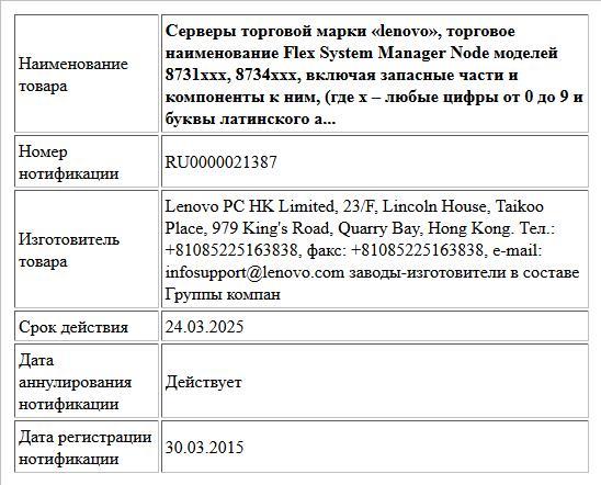 Серверы торговой марки «lenovo», торговое наименование Flex System Manager Node моделей 8731xxx, 8734xxx, включая запасные части и компоненты к ним, (где х – любые цифры от 0 до 9 и буквы латинского а...