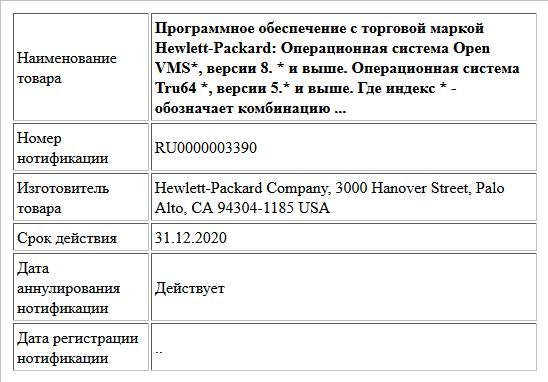 Программное обеспечение с торговой маркой Hewlett-Packard: Операционная система Open VMS*, версии 8. * и выше. Операционная система Tru64 *, версии 5.* и выше. Где индекс * - обозначает комбинацию ...