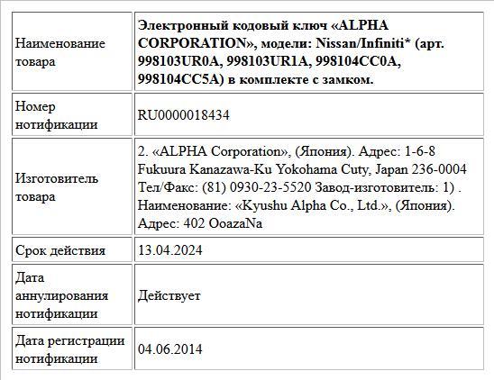 Электронный кодовый ключ «ALPHA CORPORATION», модели: Nissan/Infiniti* (арт. 998103UR0A, 998103UR1A, 998104СС0А, 998104СС5А) в комплекте с замком.