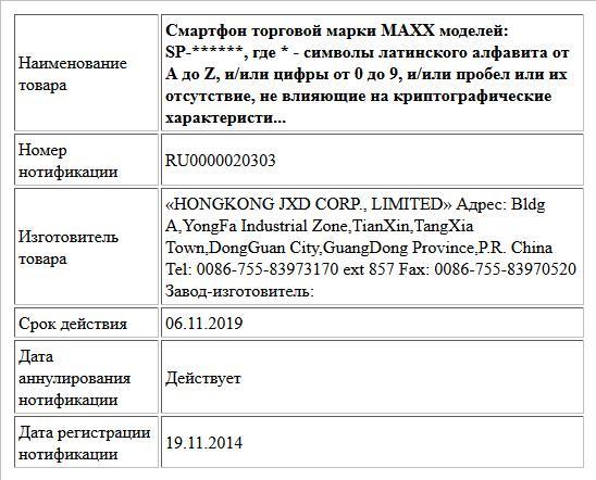 Смартфон торговой марки MAXX моделей:  SP-******,  где * - символы латинского алфавита от A до Z, и/или цифры от 0 до 9,  и/или пробел или их отсутствие, не влияющие на криптографические характеристи...
