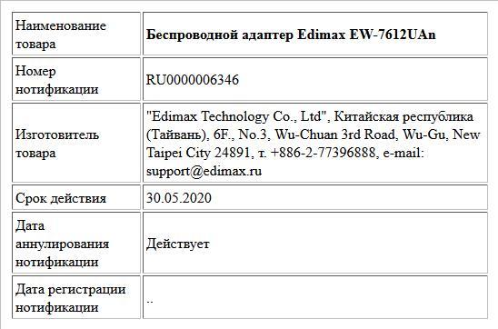 Беспроводной адаптер Edimax EW-7612UAn