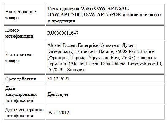 Точки доступа WiFi: OAW-AP175AC, OAW-AP175DC, OAW-AP175POE и запасные части к продукции