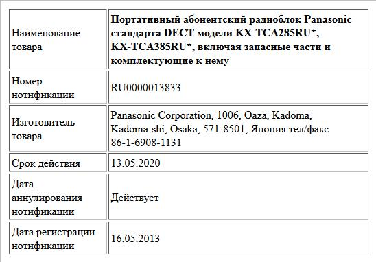 Портативный абонентский радиоблок Panasonic стандарта DECT модели KX-TCA285RU*, KX-TCA385RU*,  включая запасные части и комплектующие к нему