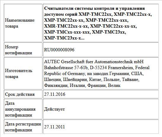 Считыватели системы контроля и управления доступом серий XMP-TMC22xx, XMP-TMC22xx-x, XMP-TMC22xx-xx, XMP-TMC22xx-xxx, XMR-TMC22xx-x-xx, XMP-TMC22xx-xx-xx, XMP-TMCxx-xxx-xxx, XMP-TMC23xx, XMP-TMC23xx-x...