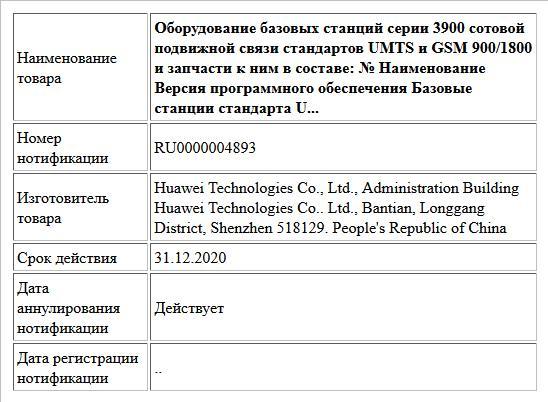 Оборудование базовых станций серии 3900 сотовой подвижной связи стандартов UMTS и GSM 900/1800 и запчасти к ним в составе: № Наименование Версия программного обеспечения  Базовые станции стандарта U...