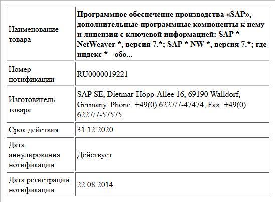 Программное обеспечение производства «SAP», дополнительные программные компоненты к нему и лицензии с ключевой информацией: SAP * NetWeaver *, версия 7.*; SAP * NW *, версия 7.*; где индекс * - обо...