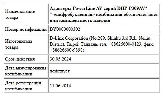 Адаптеры PowerLine AV серий DHP-P309AV* *-«цифробуквенная» комбинация обозначает цвет или комплектность изделия