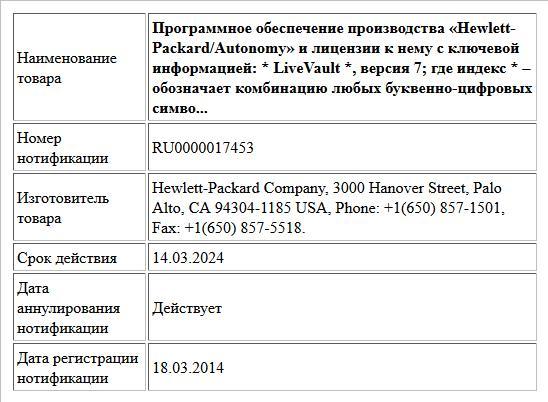 Программное обеспечение производства «Hewlett-Packard/Autonomy» и лицензии к нему с ключевой информацией:  * LiveVault *, версия 7; где индекс * – обозначает комбинацию любых буквенно-цифровых симво...