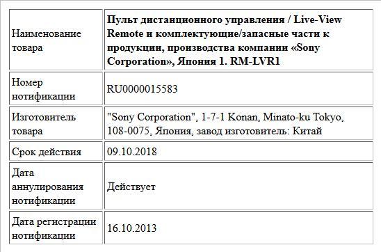 Пульт дистанционного управления / Live-View Remote и комплектующие/запасные части к продукции, производства компании «Sony Corporation», Япония  1. RM-LVR1