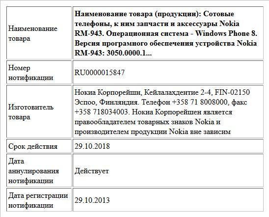 Наименование товара (продукции): Сотовые телефоны, к ним запчасти и аксессуары Nokia RM-943. Операционная система - Windows Phone 8. Версия програмного обеспечения устройства Nokia RM-943: 3050.0000.1...