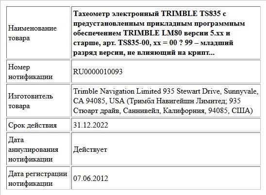 Тахеометр электронный TRIMBLE TS835 с предустановленным прикладным программным обеспечением TRIMBLE LM80 версии 5.xx и старше, арт. TS835-00, xx = 00 ? 99 – младший разряд версии, не влияющий на крипт...